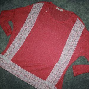 Entro Size S Coral lace Top 3/4 sleeves